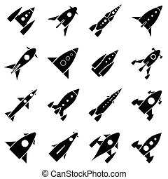 Rocket launch icons set, simple style