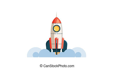 Rocket launch into space in flat style.