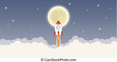 rocket launch into space to the moon in starry sky