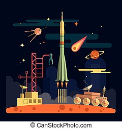 Rocket launch on space landscape background. Vector illustration in flat design. Planets, satellite, stars, moon rover, comets, moon.