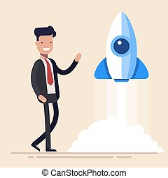 Rocket launch, ship. Concept start of business product on a market. Flat vector illustration in cartoon style.