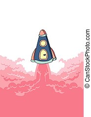 Rocket launch, space ship and cloud of smoke. Vector illustration with copy space.