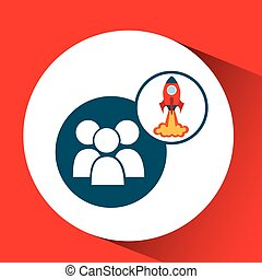 rocket launch start up business group person graphic