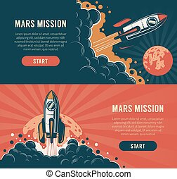 Rocket launch startup flyer - vintage style