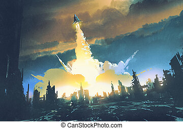 rocket launch take off from an abandoned city,sci-fi...
