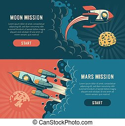 Rocket launch to the moon - space flyer in retro style