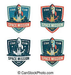 Rocket launch to the space - astronaut retro shield. ...