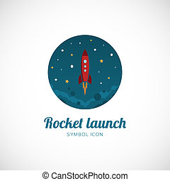 Rocket Launch Vector Concept Symbol Icon or Logo Template