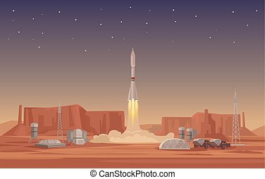 Rocket launch. Vector flat illustration