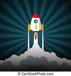Rocket Launch Vector Illustration. Business Startup Project Symbol.