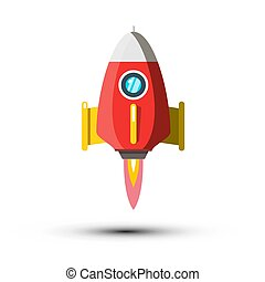 Rocket Launch Vector Symbol Isolated on White Background. Spaceship Icon.