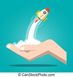 Rocket Launch with Human Hand. Vector Business Startup Symbol.