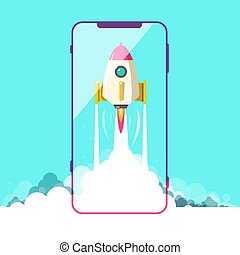 Rocket Launch with Smartphone Symbol. Vector.