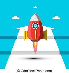 Rocket Launch with White Arrow on Blue Background