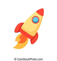 rocket launcher spaceship flat style icon vector ...