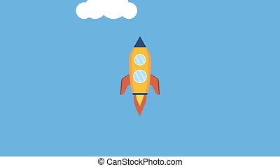 rocket launcher startup success ,4k video animation