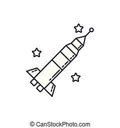 rocket launcher universe line style icon vector illustration...
