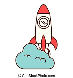 rocket launcher with cloud vector illustration design