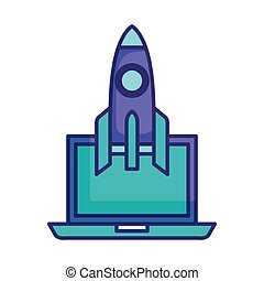 rocket launcher with laptop vector illustration design