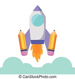 rocket launcher with pencils vector illustration design
