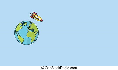 rocket launcher with speech bubble around of the world ,4k...