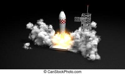 Rocket launching - 3d animation, Rocket launching.