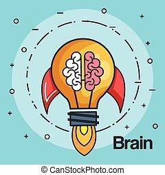 rocket light bulb shape and brain business start up concept