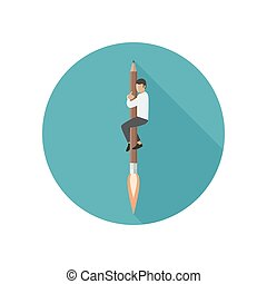 Rocket-pencil with man