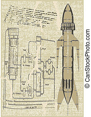 Rocket Plans Vector Background