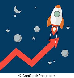 Rocket pull arrow graph up
