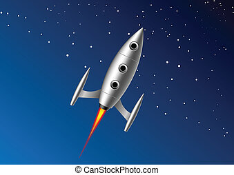 Rocket - rocket that flies with a tail of fire on background...
