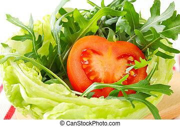 Rocket salad in lettuce bowl - Rocket salad in a bowl made...