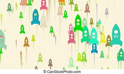 Rocket shapes in different colors flowing up