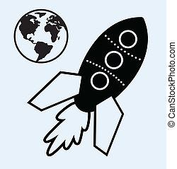 rocket ship and planet earth symbols