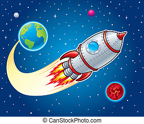 Cartoon illustration of a rocket ship blasting from earth with stars, planets and moons in the background.
