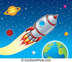 Rocket Ship Blasting Through Space - Illustration of a...