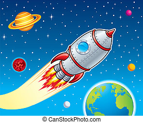 Illustration of a rocket ship blasting through outer space, with planets, stars and moons in the background.