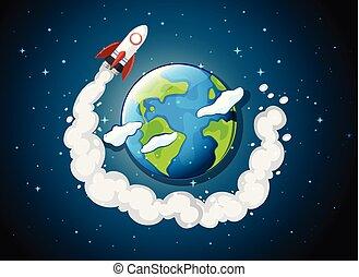 rocket ship flying around earth