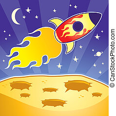 Rocket Ship - A cartoon rocket ship flying in space.
