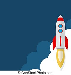 Rocket ship in a flat style. Space travel