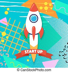 Rocket ship in a flat style. Vector illustration with 3d flying rocket. Project start up and development process. Innovation product, creative idea. Management.
