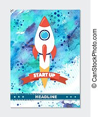 Rocket ship in a flat style. Vector illustration with 3d flying rocket.