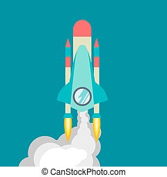 Rocket ship in a flat style. Vector illustration with 3d flying rocket. Space travel to the moon. Space rocket launch. Project start up and development process. Innovation product, creative idea. Management.