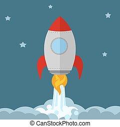Rocket Ship Start Up Concept. Flat Style