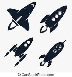 Rocket ships Start Up flat style Set. vector