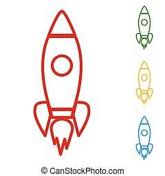 Rocket sign. Set of line icons