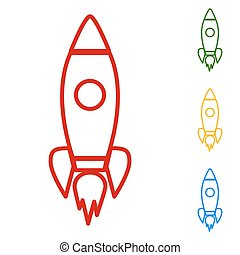Rocket sign. Set of line icons
