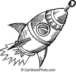 Rocket Sketch Doodle Vector Art