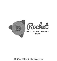 Rocket, sound studio vector label, badge, emblem logo with musical instrument. Stock vector illustration isolated on white background