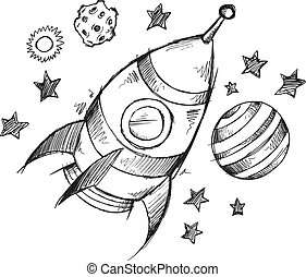 Rocket Space Doodle Sketch Vector